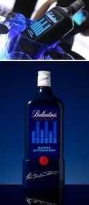 Botella Ballantines con acualizador elaborador por medio de tintas electroluminiscentes