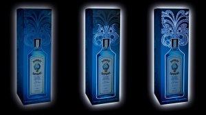 Caja de Bombay Sapphire elaborada con tintas electroluminiscentes