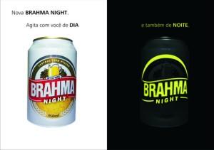 Campaña publicitaria de la cerveza portuguesa Brahma utilizando tintas fluorescentes